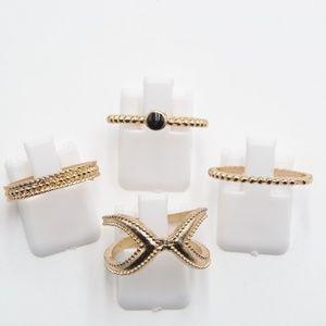 Set of 4 Stacking Midi Rings gold